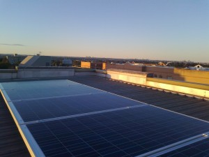 office block commercial building with solar installed