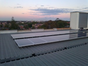 solar panels on office block rooftop burwood